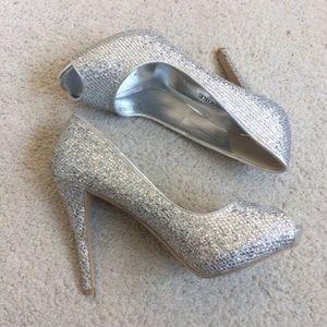 Audrey Brooke Peep Toe Sparkle Heels